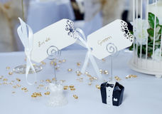 Bride and groom place cards Royalty Free Stock Photo
