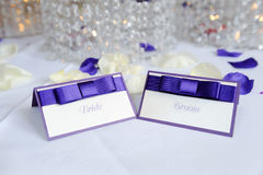Bride and groom place cards Stock Image