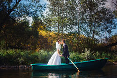 Bride and Groom in the Pleasure Boat Stock Photos