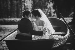 Bride and Groom in the Pleasure Boat Royalty Free Stock Photography