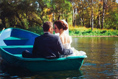 Bride and Groom in the Pleasure Boat Royalty Free Stock Images