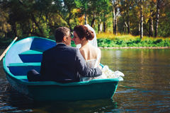Bride and Groom in the Pleasure Boat Stock Image