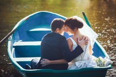 Bride and Groom in the Pleasure Boat Royalty Free Stock Photos