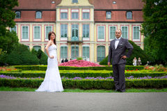 Bride and groom portrait at baroque palace Royalty Free Stock Photography