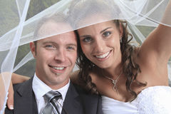 Bride and groom portrait the day of wedding Royalty Free Stock Photography