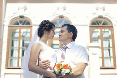 Bride and groom portrait. In old house Royalty Free Stock Photography