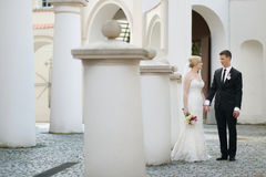 Bride and groom portrait outdoors Royalty Free Stock Photography