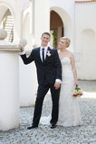 Bride and groom portrait outdoors Stock Photo