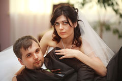Bride and groom portrait in  room Stock Photos