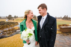 Bride and Groom Portrait in Snow Royalty Free Stock Photos