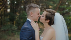 Bride and groom pose in the wood stock footage