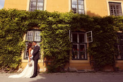 Bride and groom posing outdoors Royalty Free Stock Photography