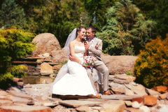 Bride and groom posing in park Royalty Free Stock Images