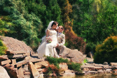 Bride and groom posing in park Royalty Free Stock Photo