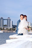 Bride and groom. Posing in the urban landscape Royalty Free Stock Photos