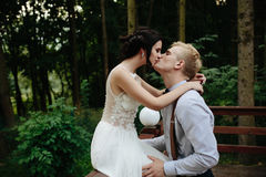 Bride and groom posing on the verandah Royalty Free Stock Image