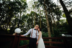 Bride and groom posing on the verandah Royalty Free Stock Photos