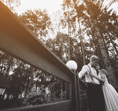 Bride and groom posing on the verandah. Somewhere in the nature royalty free stock photography