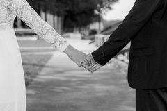 Bride and groom prewedding photoshooting. In black and white Royalty Free Stock Photos
