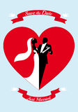 Bride and groom with red heart, vector Royalty Free Stock Photography