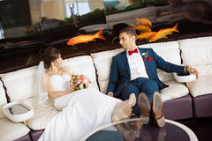 Bride and groom resting in indoors cafe Stock Photos