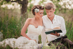 The bride and groom are resting on the nature Royalty Free Stock Photography