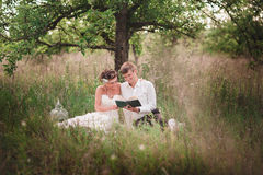 The bride and groom are resting on the nature Stock Photography
