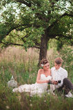 The bride and groom are resting on the nature Stock Images