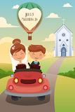 Bride and groom riding a car after wedding Stock Photo