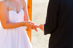 Bride Groom Ring Exchange Stock Photos