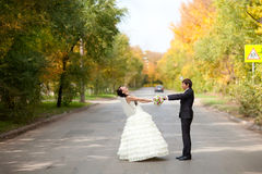 Bride and groom on the road. A bride and groom on the road Stock Photo