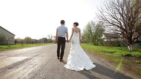 Bride and groom are on the road away stock video