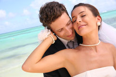 Bride and groom romance Stock Photography