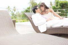 Bride and Groom. Romance scene Royalty Free Stock Image