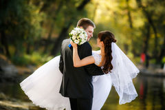 Bride and groom are a romantic moment Royalty Free Stock Photography