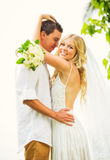 Bride and Groom, Romantic Newly Married Couple Embracing, Just M Royalty Free Stock Images