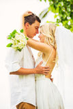 Bride and Groom, Romantic Newly Married Couple Embracing, Just M Royalty Free Stock Photo