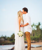 Bride and Groom, Romantic Newly Married Couple Kissing at the Be. Ach, Just Married Royalty Free Stock Images