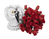 Bride and Groom and Roses Stock Images