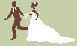 Bride and groom running. An illustration of bride and groom running Stock Image
