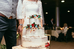 Bride and groom with rustic wedding cake on wedding banquet with Royalty Free Stock Image