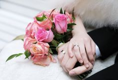 Bride and groom's hands Stock Photos