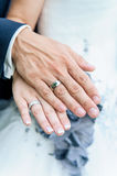 Bride and groom's hands. With wedding rings Stock Images