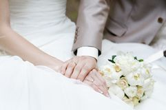 Bride and groom's hands Stock Images