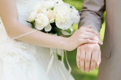 Bride and groom's hands Stock Image