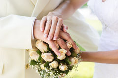 Bride and groom's hands with wedding rings,wedding Stock Image