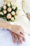 Bride and groom's hands with wedding rings,wedding Royalty Free Stock Photo