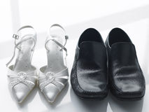Bride And Groom's Shoes Side By Side Royalty Free Stock Photo