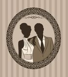 Bride and groom's silhouette. Illustration of beautiful bride and groom's silhouette Royalty Free Stock Photo
