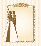 Bride and groom's silhouette Royalty Free Stock Photos
